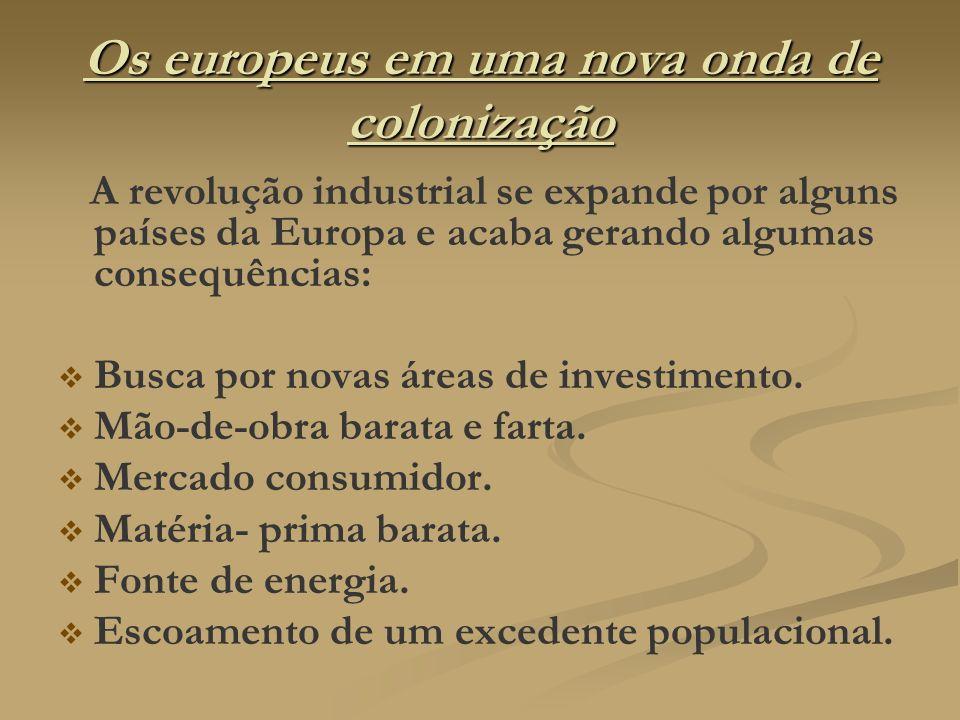 Os europeus em uma nova onda de colonização A revolução industrial se expande por alguns países da Europa e acaba gerando algumas consequências: Busca