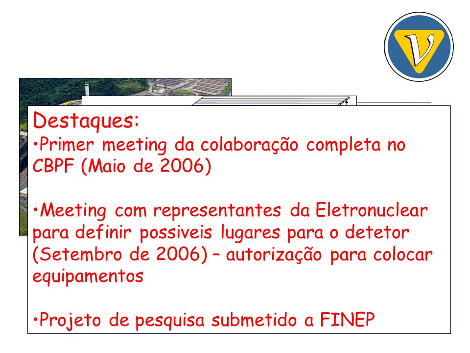 Destaques: Primer meeting da colaboração completa no CBPF (Maio de 2006) Meeting com representantes da Eletronuclear para definir possiveis lugares para o detetor (Setembro de 2006) – autorização para colocar equipamentos Projeto de pesquisa submetido a FINEP