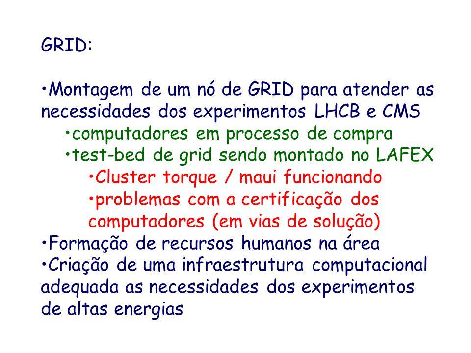GRID: Montagem de um nó de GRID para atender as necessidades dos experimentos LHCB e CMS computadores em processo de compra test-bed de grid sendo montado no LAFEX Cluster torque / maui funcionando problemas com a certificação dos computadores (em vias de solução) Formação de recursos humanos na área Criação de uma infraestrutura computacional adequada as necessidades dos experimentos de altas energias