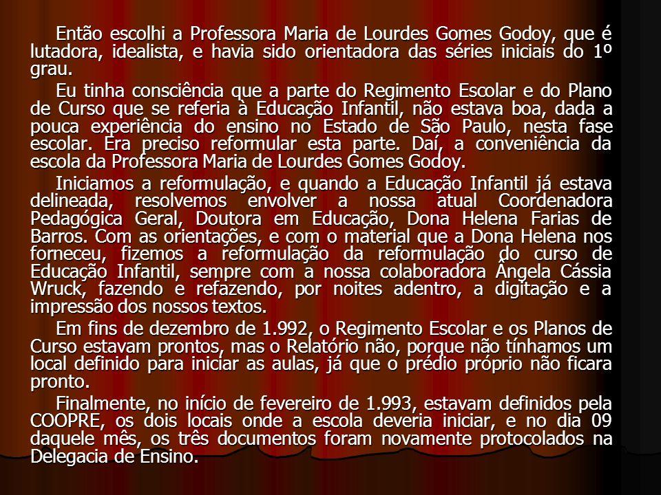 Então escolhi a Professora Maria de Lourdes Gomes Godoy, que é lutadora, idealista, e havia sido orientadora das séries iniciais do 1º grau. Eu tinha
