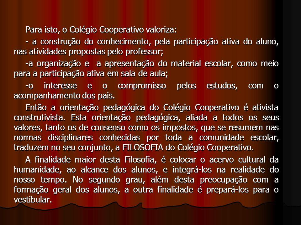 Para isto, o Colégio Cooperativo valoriza: - a construção do conhecimento, pela participação ativa do aluno, nas atividades propostas pelo professor;