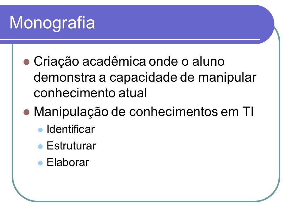 Criação acadêmica onde o aluno demonstra a capacidade de manipular conhecimento atual Manipulação de conhecimentos em TI Identificar Estruturar Elabor