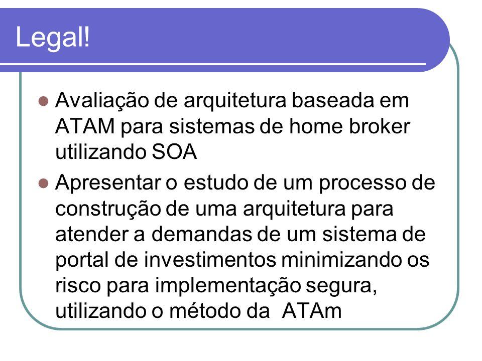 Legal! Avaliação de arquitetura baseada em ATAM para sistemas de home broker utilizando SOA Apresentar o estudo de um processo de construção de uma ar