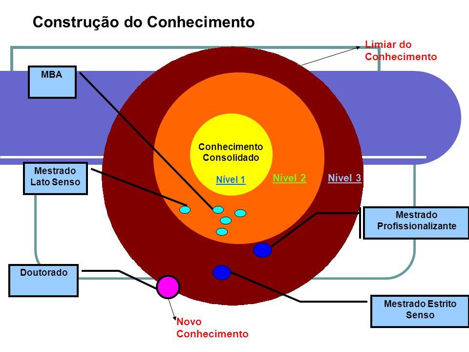 Conhecimento Consolidado Nível 1 Mestrado Profissionalizante Doutorado Mestrado Estrito Senso Mestrado Lato Senso MBA Limiar do Conhecimento Novo Conh