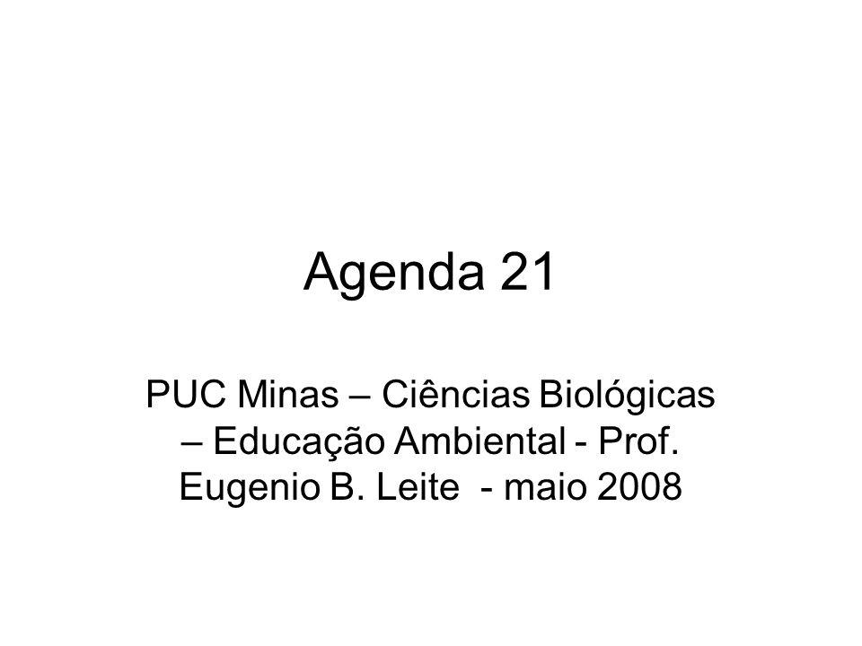 Agenda 21 PUC Minas – Ciências Biológicas – Educação Ambiental - Prof. Eugenio B. Leite - maio 2008