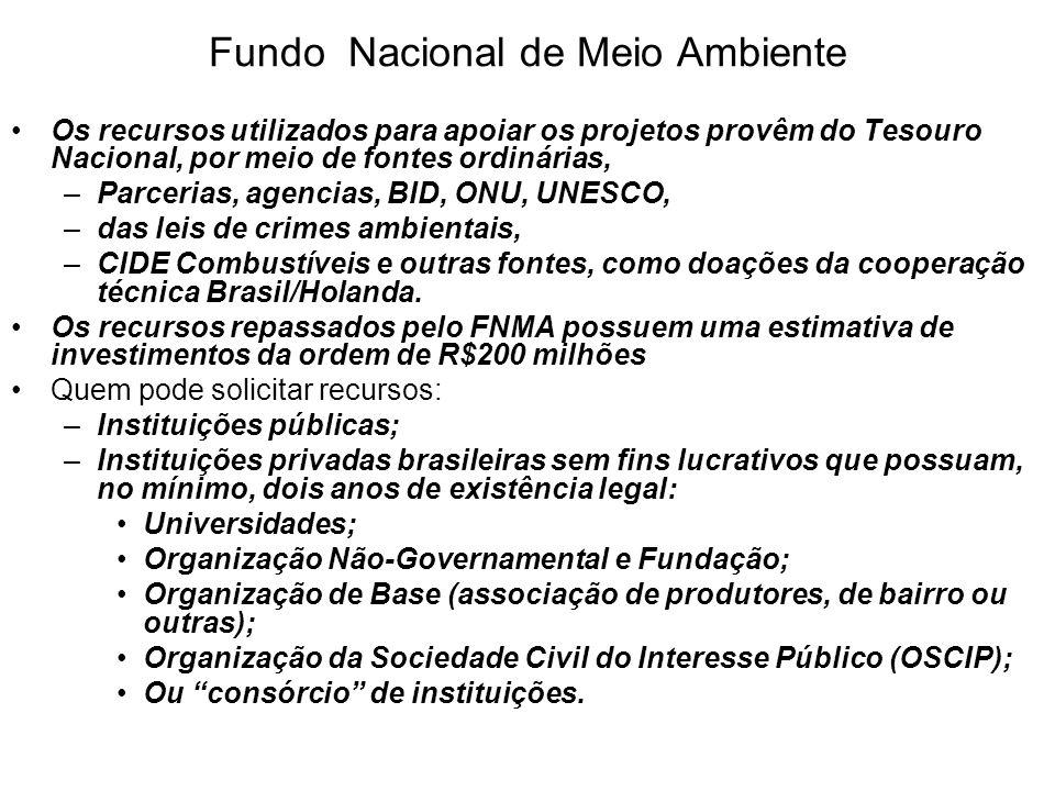 Fundo Nacional de Meio Ambiente Os recursos utilizados para apoiar os projetos provêm do Tesouro Nacional, por meio de fontes ordinárias, –Parcerias,