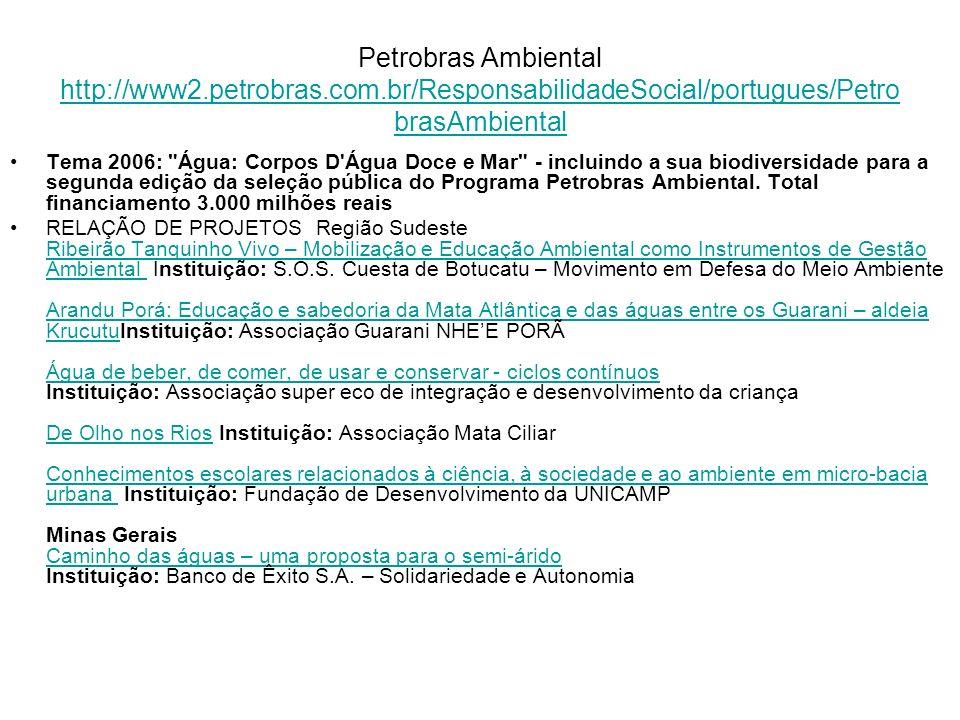 Petrobras Ambiental http://www2.petrobras.com.br/ResponsabilidadeSocial/portugues/Petro brasAmbiental http://www2.petrobras.com.br/ResponsabilidadeSoc