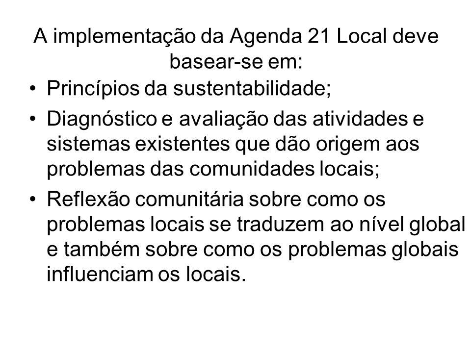 A implementação da Agenda 21 Local deve basear-se em: Princípios da sustentabilidade; Diagnóstico e avaliação das atividades e sistemas existentes que