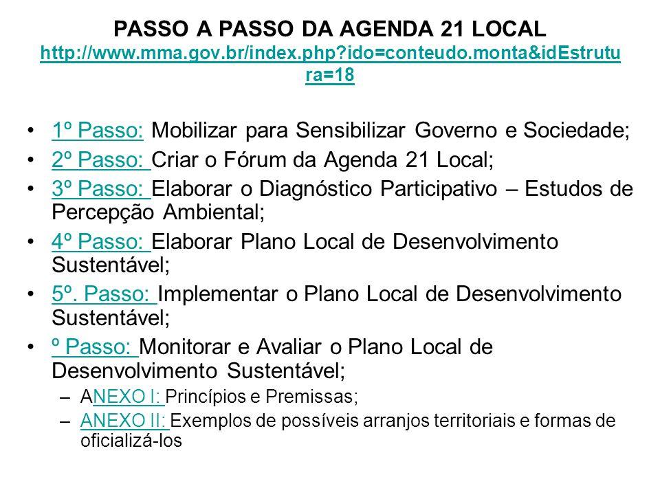 PASSO A PASSO DA AGENDA 21 LOCAL http://www.mma.gov.br/index.php?ido=conteudo.monta&idEstrutu ra=18 http://www.mma.gov.br/index.php?ido=conteudo.monta