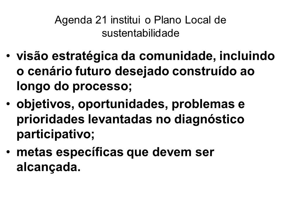 Agenda 21 institui o Plano Local de sustentabilidade visão estratégica da comunidade, incluindo o cenário futuro desejado construído ao longo do proce