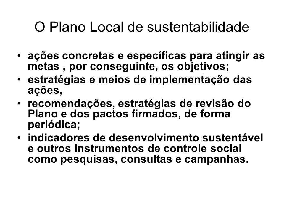 O Plano Local de sustentabilidade ações concretas e específicas para atingir as metas, por conseguinte, os objetivos; estratégias e meios de implement