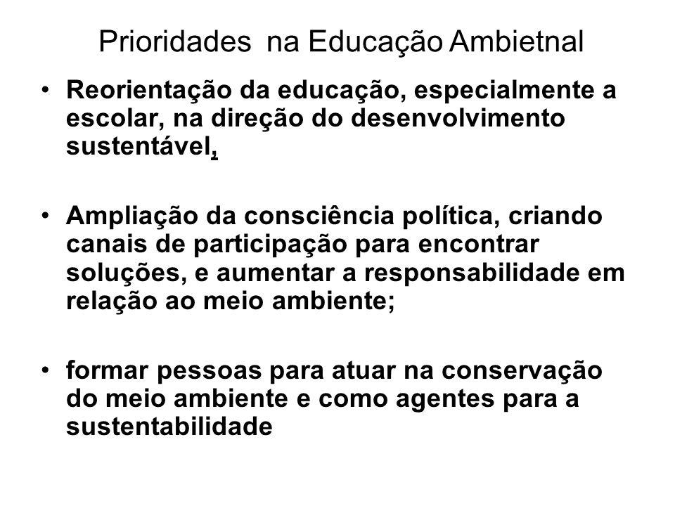 Prioridades na Educação Ambietnal Reorientação da educação, especialmente a escolar, na direção do desenvolvimento sustentável, Ampliação da consciênc