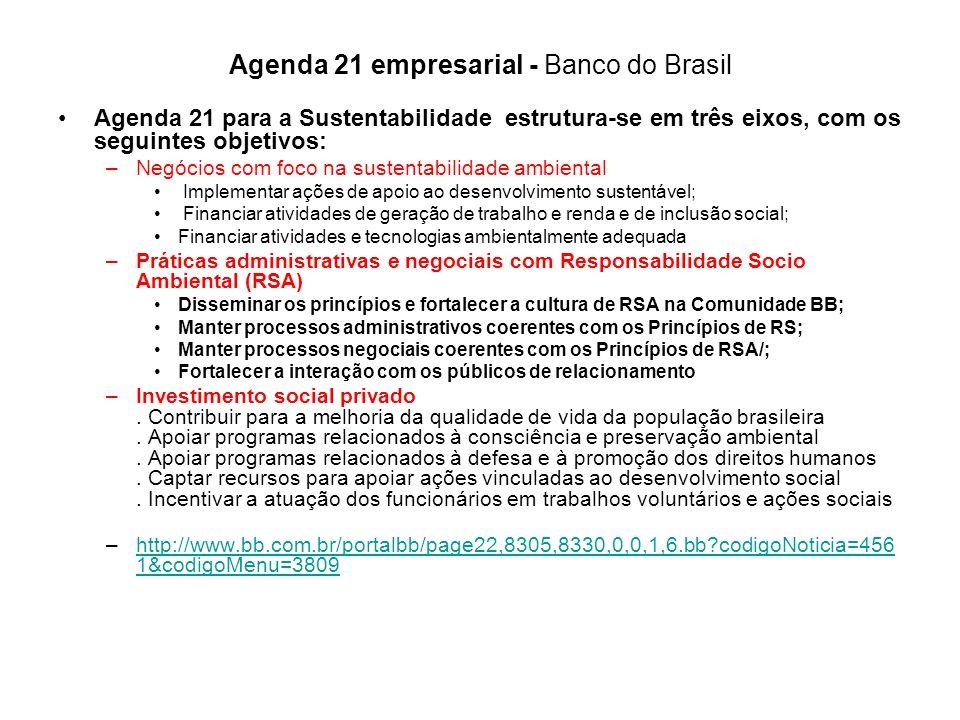 Agenda 21 empresarial - Banco do Brasil Agenda 21 para a Sustentabilidade estrutura-se em três eixos, com os seguintes objetivos: –Negócios com foco n
