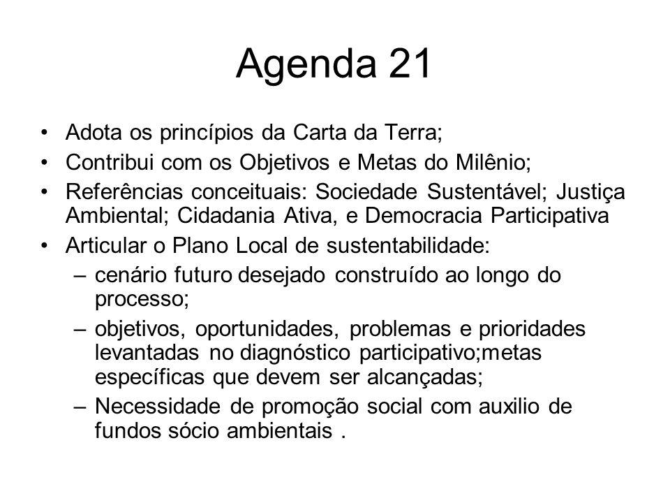 Agenda 21 Adota os princípios da Carta da Terra; Contribui com os Objetivos e Metas do Milênio; Referências conceituais: Sociedade Sustentável; Justiç