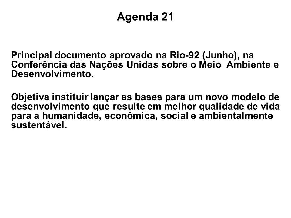 Agenda 21 Principal documento aprovado na Rio-92 (Junho), na Conferência das Nações Unidas sobre o Meio Ambiente e Desenvolvimento. Objetiva instituir