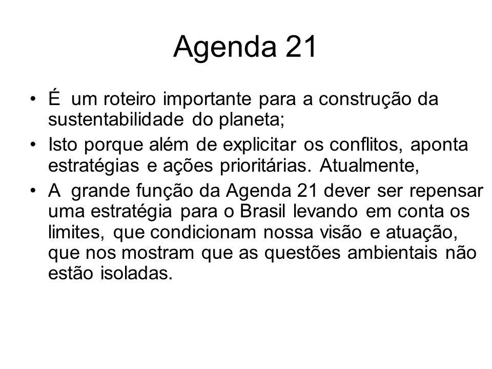 Agenda 21 É um roteiro importante para a construção da sustentabilidade do planeta; Isto porque além de explicitar os conflitos, aponta estratégias e