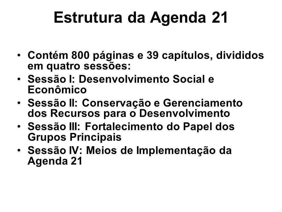 Estrutura da Agenda 21 Contém 800 páginas e 39 capítulos, divididos em quatro sessões: Sessão I: Desenvolvimento Social e Econômico Sessão II: Conserv