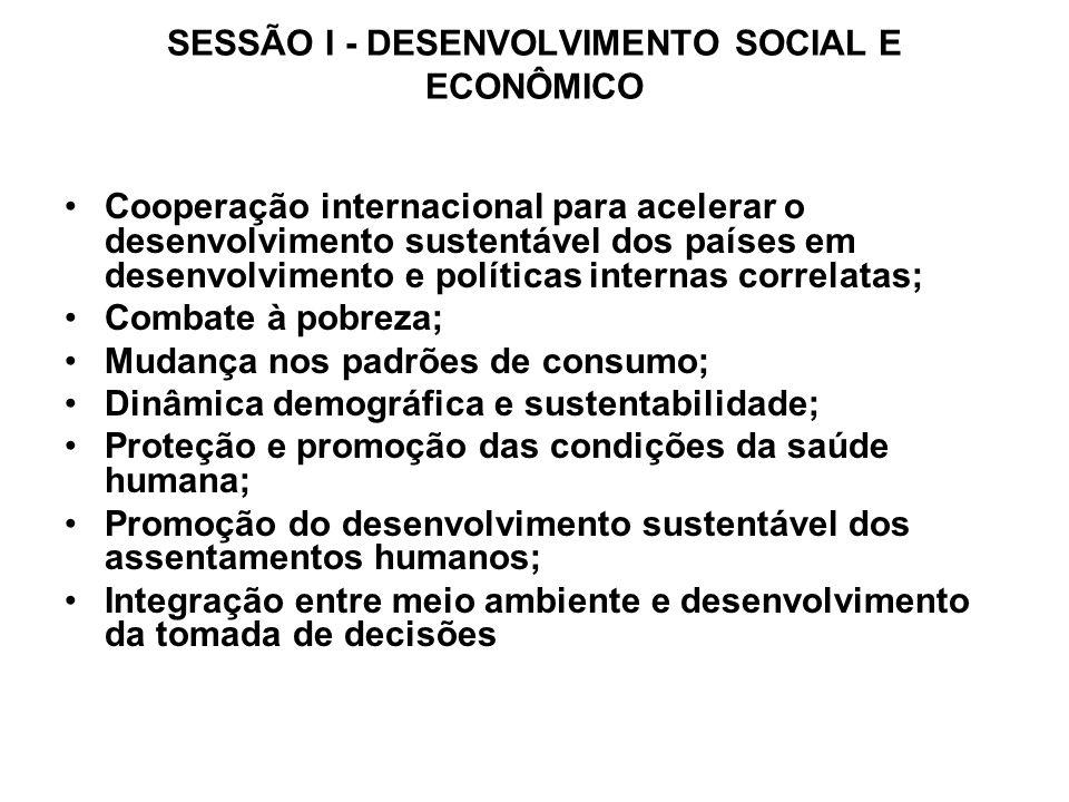SESSÃO I - DESENVOLVIMENTO SOCIAL E ECONÔMICO Cooperação internacional para acelerar o desenvolvimento sustentável dos países em desenvolvimento e pol