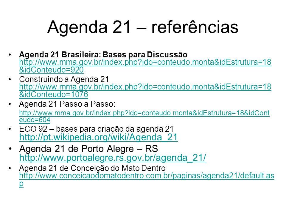 Agenda 21 – referências Agenda 21 Brasileira: Bases para Discussão http://www.mma.gov.br/index.php?ido=conteudo.monta&idEstrutura=18 &idConteudo=920 h