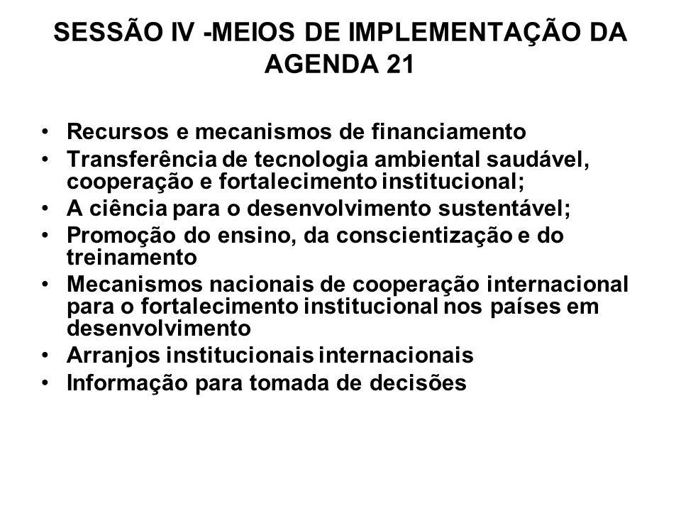 SESSÃO IV -MEIOS DE IMPLEMENTAÇÃO DA AGENDA 21 Recursos e mecanismos de financiamento Transferência de tecnologia ambiental saudável, cooperação e for