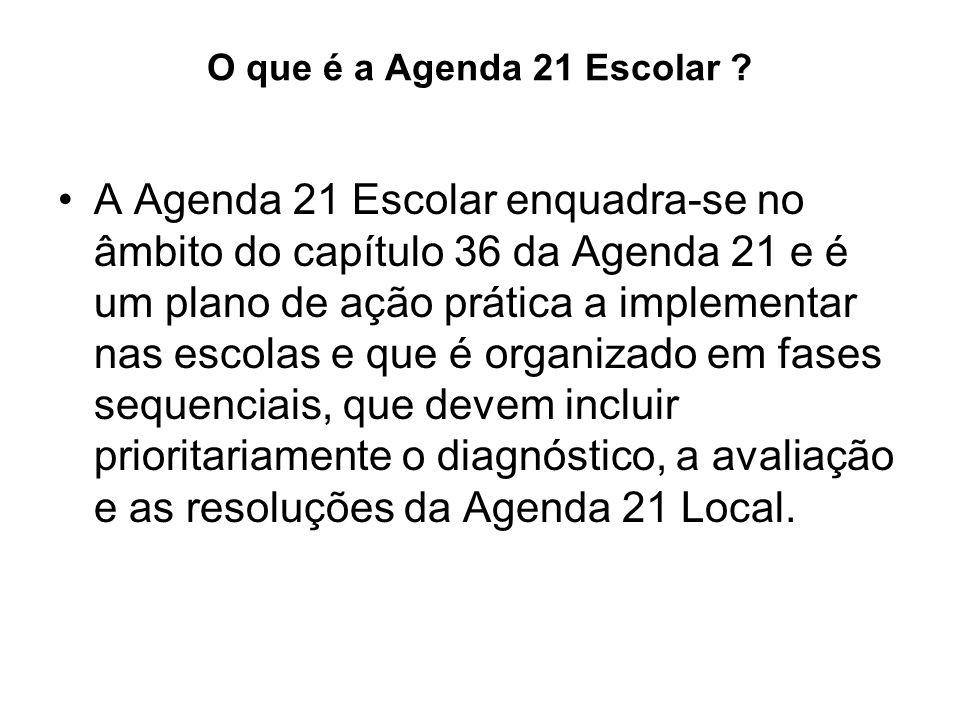 O que é a Agenda 21 Escolar ? A Agenda 21 Escolar enquadra-se no âmbito do capítulo 36 da Agenda 21 e é um plano de ação prática a implementar nas esc