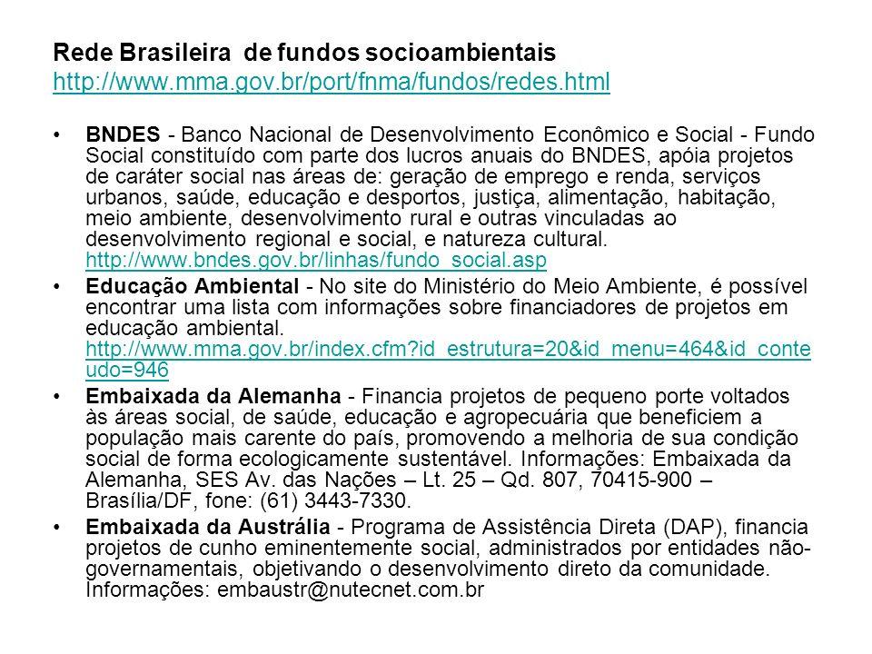 Rede Brasileira de fundos socioambientais Embaixada do Japão - Assistência para Projetos Comunitários (APC) - projetos de desenvolvimento a nível comunitário concebidos para atender às diversas necessidades dos países em desenvolvimento.