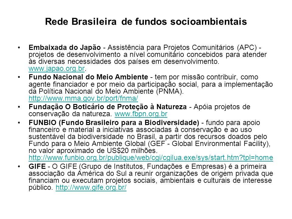 Rede Brasileira de fundos socioambientais Embaixada do Japão - Assistência para Projetos Comunitários (APC) - projetos de desenvolvimento a nível comu