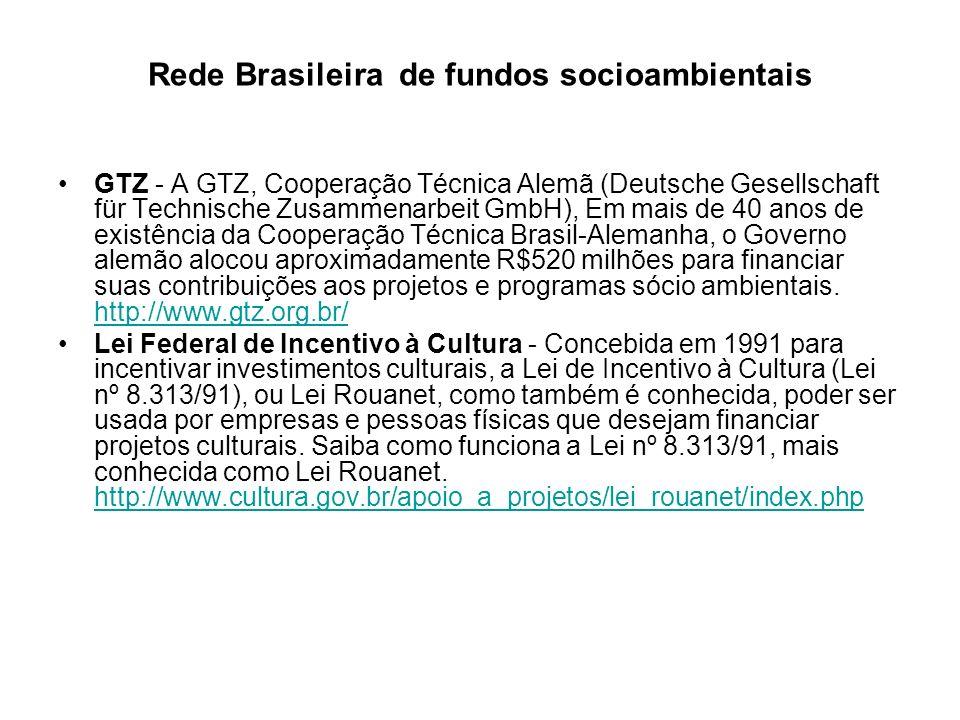 Rede Brasileira de fundos socioambientais PD/A - O Subprograma Projetos Demonstrativos (PDA) iniciou suas atividades em 1995, sendo um dos componentes do Programa Piloto para Proteção das Florestas Tropicais do Brasil - PPG7 http://www.mma.gov.br/index.cfm?id_estrutura=51 http://www.mma.gov.br/index.cfm?id_estrutura=51 Rits (Rede de Informações para o Terceiro Setor) Oferece para download o Cadastro de Fontes Nacionais e Internacionais de Cooperação para Projetos Ambientais, elaborado pela Companhia Pernambucana do Meio Ambiente.