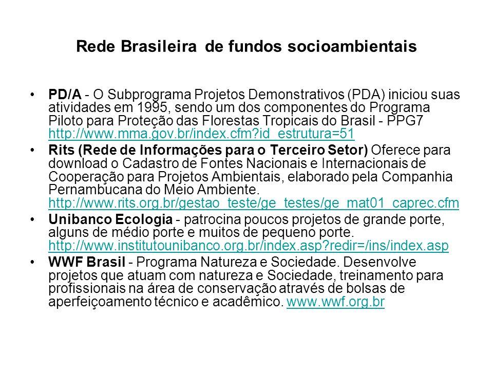 Rede Brasileira de fundos socioambientais PD/A - O Subprograma Projetos Demonstrativos (PDA) iniciou suas atividades em 1995, sendo um dos componentes