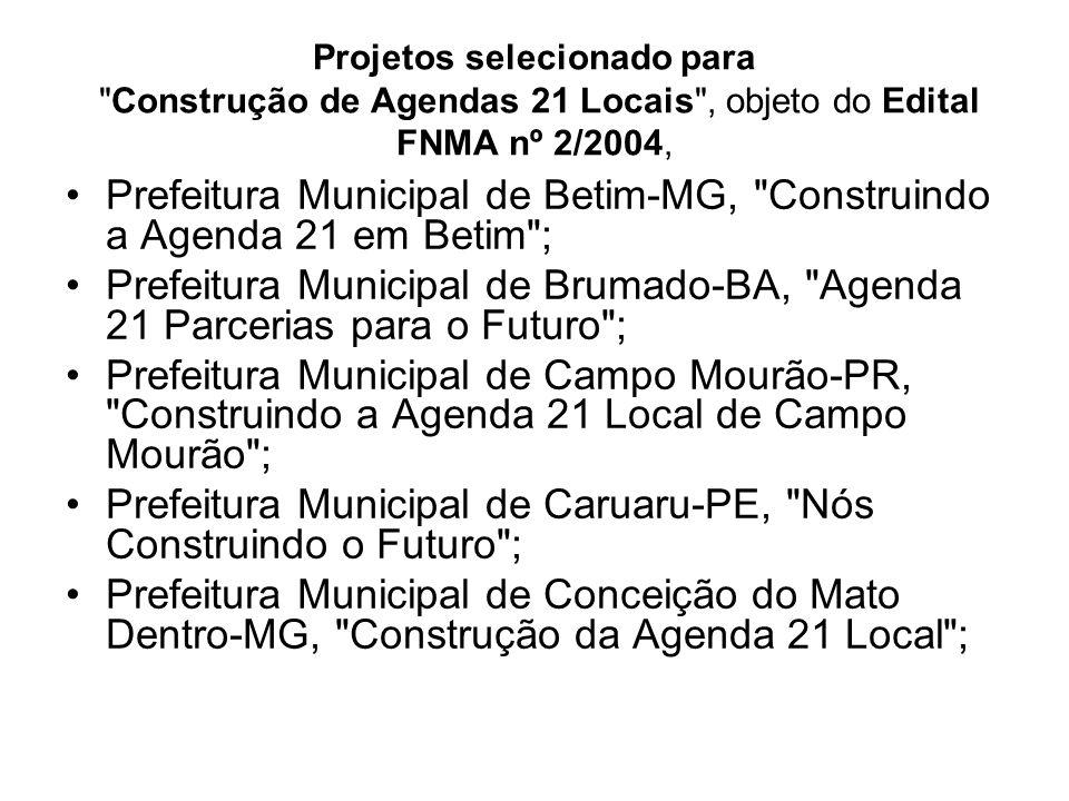 Projetos selecionado para