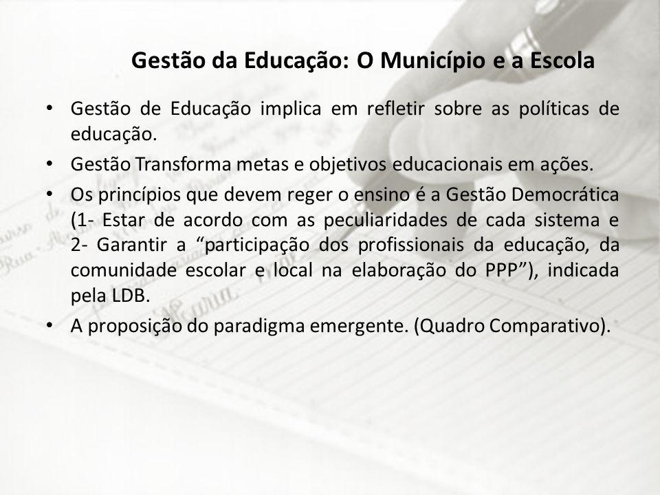 Gestão da Educação: O Município e a Escola Gestão de Educação implica em refletir sobre as políticas de educação. Gestão Transforma metas e objetivos