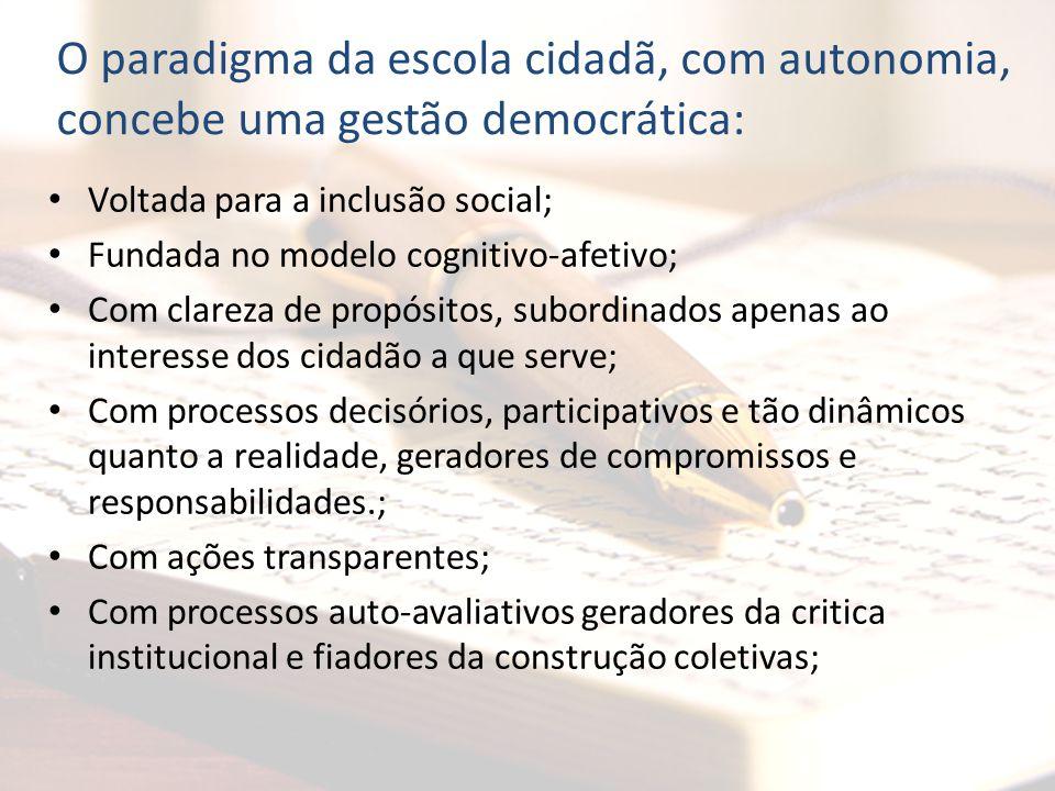 O paradigma da escola cidadã, com autonomia, concebe uma gestão democrática: Voltada para a inclusão social; Fundada no modelo cognitivo-afetivo; Com