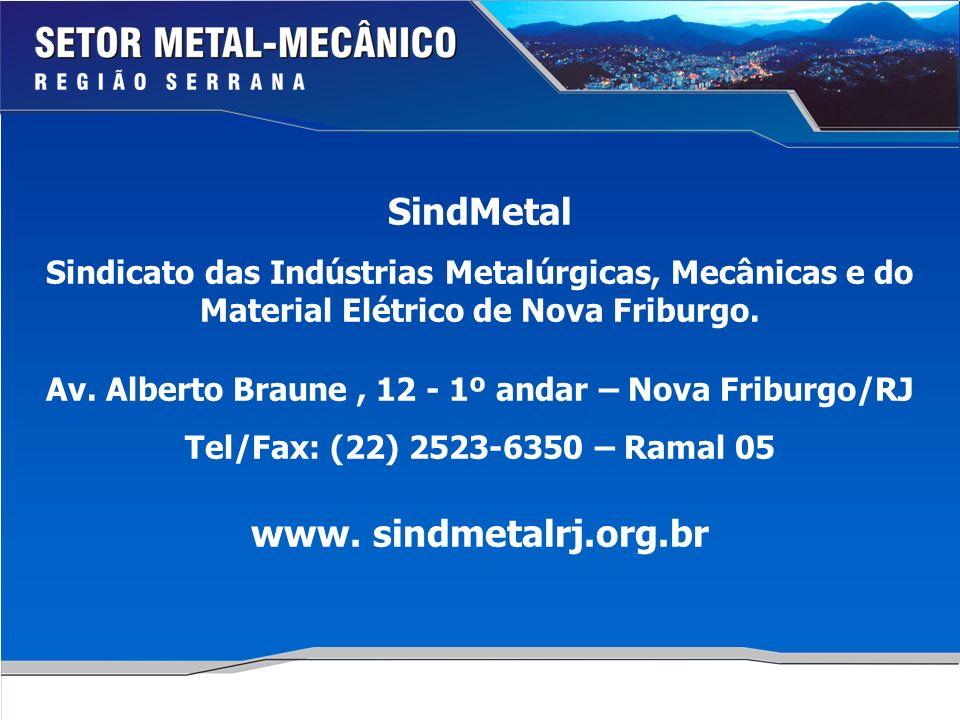 SindMetal Sindicato das Indústrias Metalúrgicas, Mecânicas e do Material Elétrico de Nova Friburgo.