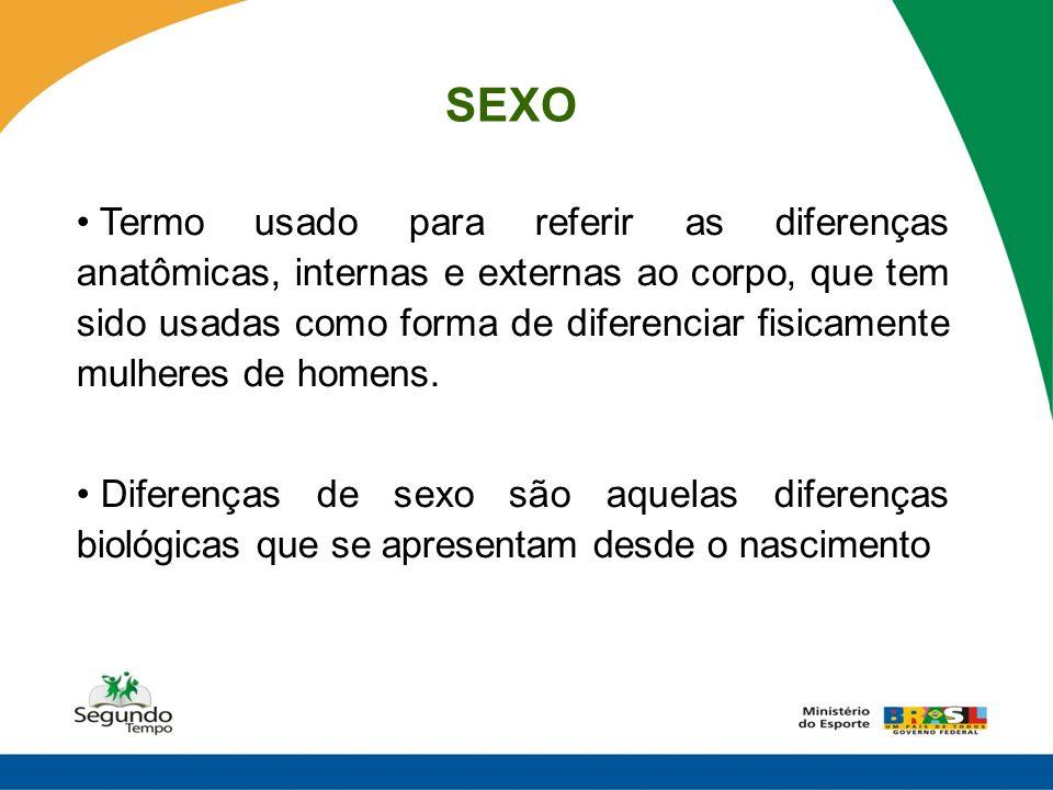 SEXO Termo usado para referir as diferenças anatômicas, internas e externas ao corpo, que tem sido usadas como forma de diferenciar fisicamente mulher