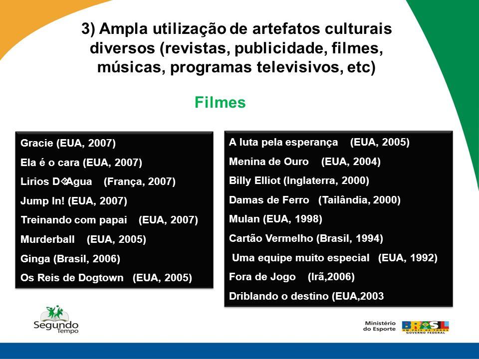 3) Ampla utilização de artefatos culturais diversos (revistas, publicidade, filmes, músicas, programas televisivos, etc) Gracie (EUA, 2007) Ela é o ca