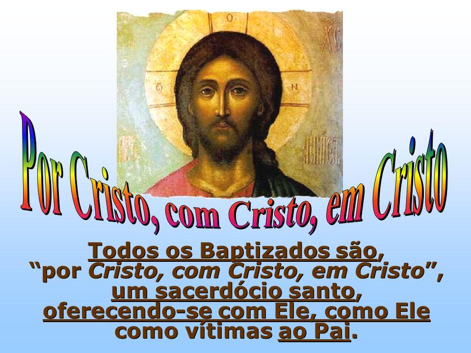 Todos os Baptizados são, por Cristo, com Cristo, em Cristo, um sacerdócio santo, oferecendo-se com Ele, como Ele como vítimas ao Pai.