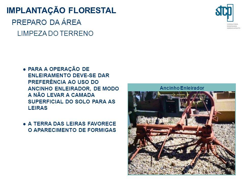 PARA A OPERAÇÃO DE ENLEIRAMENTO DEVE-SE DAR PREFERÊNCIA AO USO DO ANCINHO ENLEIRADOR, DE MODO A NÃO LEVAR A CAMADA SUPERFICIAL DO SOLO PARA AS LEIRAS A TERRA DAS LEIRAS FAVORECE O APARECIMENTO DE FORMIGAS IMPLANTAÇÃO FLORESTAL PREPARO DA ÁREA LIMPEZA DO TERRENO Ancinho Enleirador