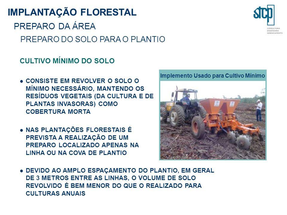 IMPLANTAÇÃO FLORESTAL PREPARO DA ÁREA PREPARO DO SOLO PARA O PLANTIO CULTIVO MÍNIMO DO SOLO CONSISTE EM REVOLVER O SOLO O MÍNIMO NECESSÁRIO, MANTENDO OS RESÍDUOS VEGETAIS (DA CULTURA E DE PLANTAS INVASORAS) COMO COBERTURA MORTA NAS PLANTAÇÕES FLORESTAIS É PREVISTA A REALIZAÇÃO DE UM PREPARO LOCALIZADO APENAS NA LINHA OU NA COVA DE PLANTIO DEVIDO AO AMPLO ESPAÇAMENTO DO PLANTIO, EM GERAL DE 3 METROS ENTRE AS LINHAS, O VOLUME DE SOLO REVOLVIDO É BEM MENOR DO QUE O REALIZADO PARA CULTURAS ANUAIS Implemento Usado para Cultivo Mínimo