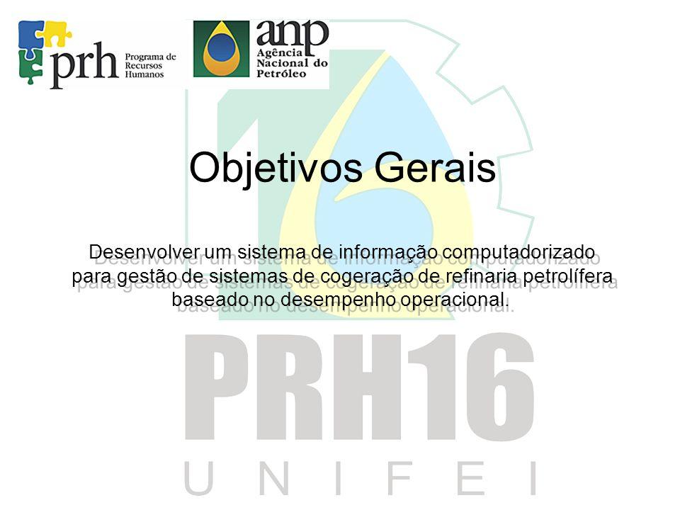 Objetivos Gerais Desenvolver um sistema de informação computadorizado para gestão de sistemas de cogeração de refinaria petrolífera baseado no desempe