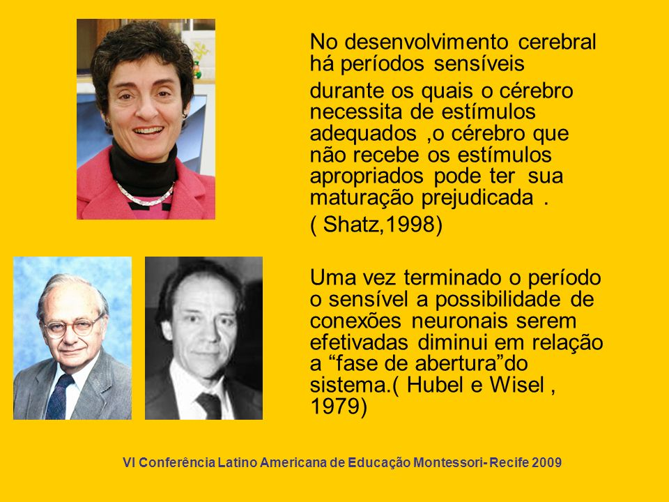 VI Conferência Latino Americana de Educação Montessori- Recife 2009 Estes são resultados de modernas pesquisas que vem reafirmar o valor do método educativo criado por Maria Montessori.
