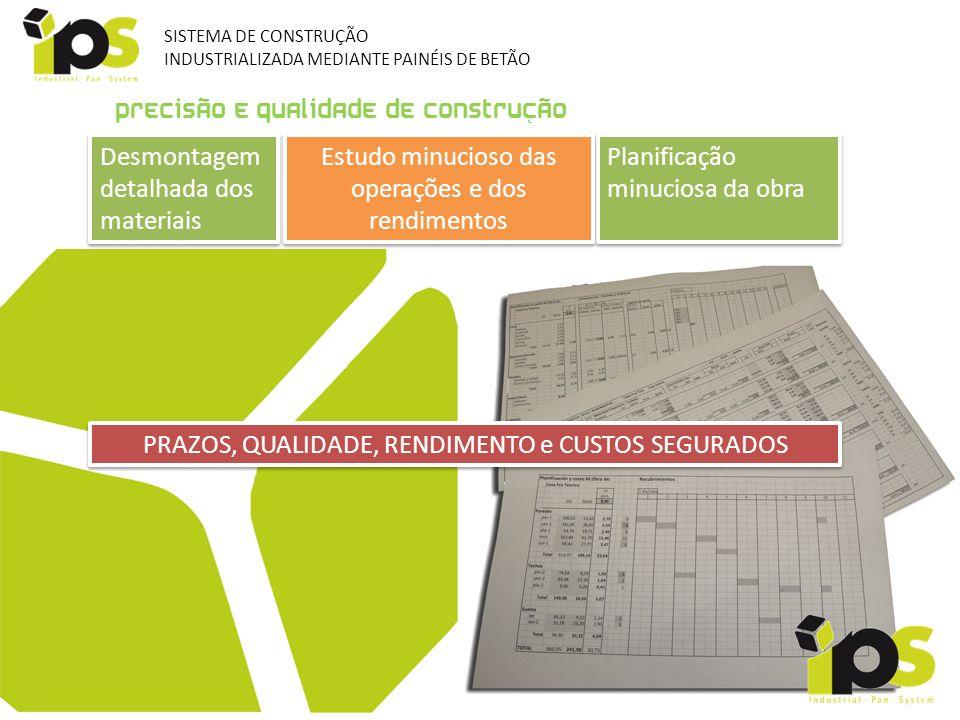 Precisão e qualidade de construção Desmontagem detalhada dos materiais Desmontagem detalhada dos materiais Planificação minuciosa da obra Planificação