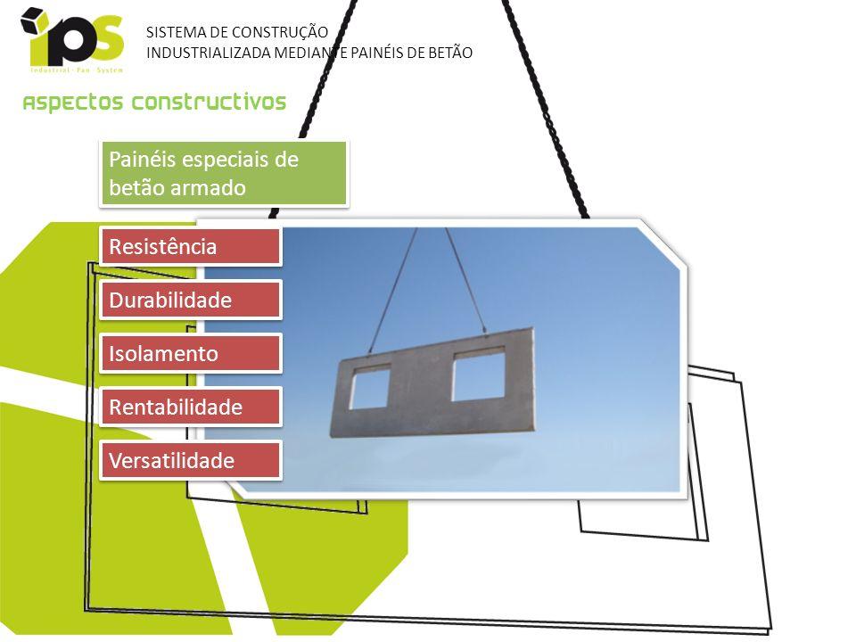 Painéis especiais de betão armado Aspectos constructivos Resistência Durabilidade Isolamento Rentabilidade Versatilidade SISTEMA DE CONSTRUÇÃO INDUSTR