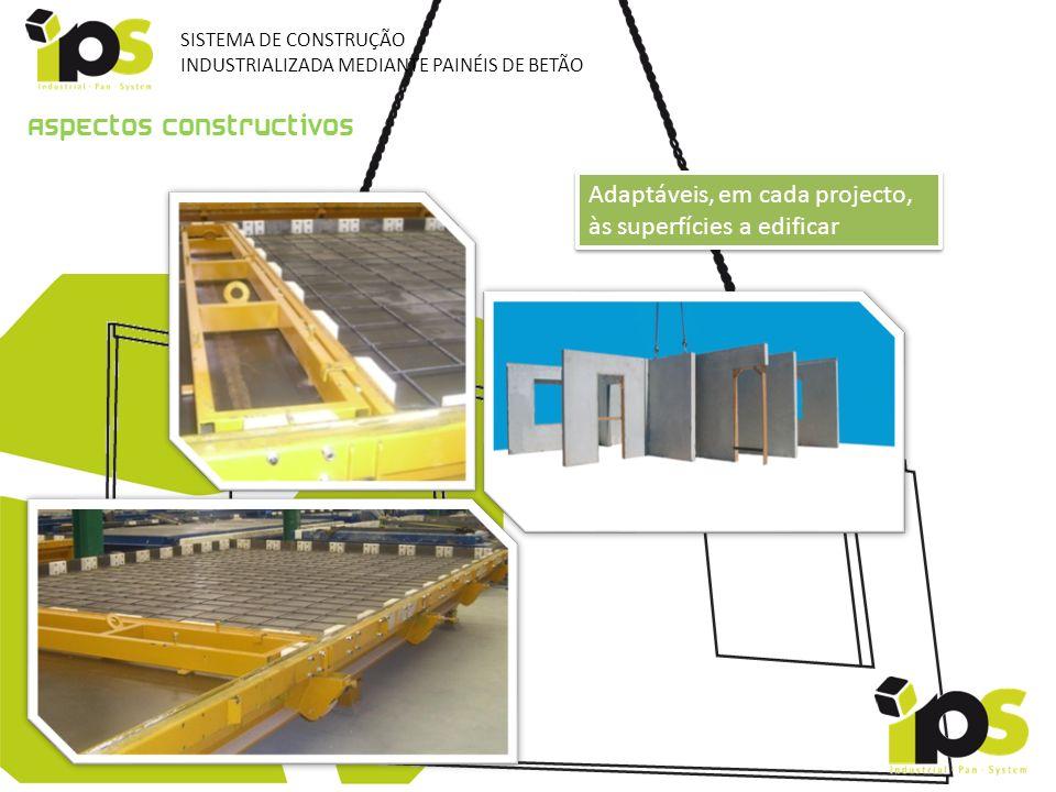 Aspectos constructivos Adaptáveis, em cada projecto, às superfícies a edificar SISTEMA DE CONSTRUÇÃO INDUSTRIALIZADA MEDIANTE PAINÉIS DE BETÃO