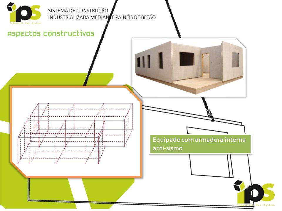 Aspectos constructivos Equipado com armadura interna anti-sismo SISTEMA DE CONSTRUÇÃO INDUSTRIALIZADA MEDIANTE PAINÉIS DE BETÃO