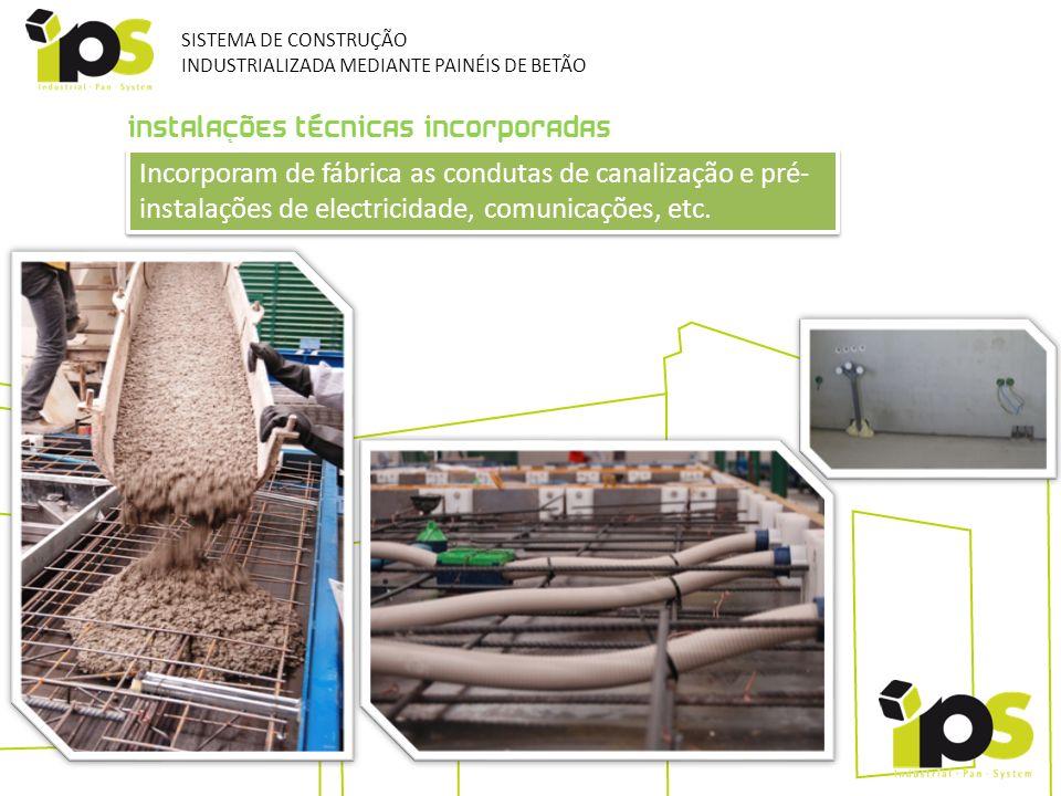 INSTALAÇÕES TÉCNICAS INCORPORADAS Incorporam de fábrica as condutas de canalização e pré- instalações de electricidade, comunicações, etc. SISTEMA DE