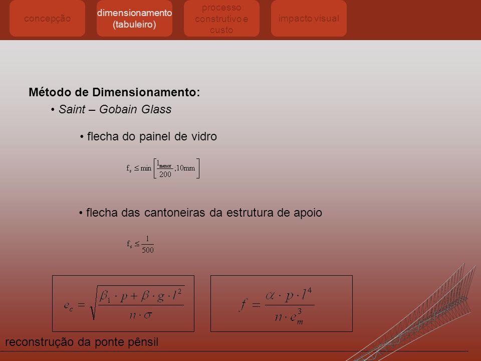 reconstrução da ponte pênsil concepção dimensionamento (tabuleiro) processo construtivo e custo impacto visual Método de Dimensionamento: flecha do pa