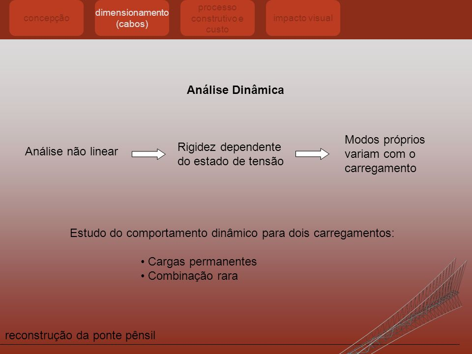 reconstrução da ponte pênsil concepção dimensionamento (cabos) processo construtivo e custo impacto visual Análise Dinâmica Análise não linear Rigidez