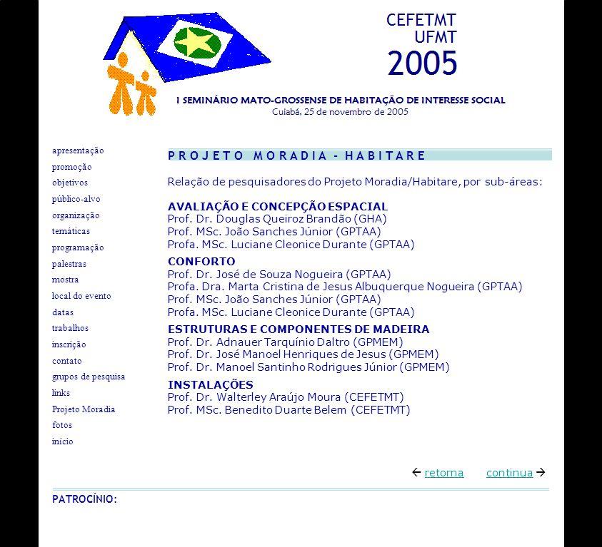 Relação de pesquisadores do Projeto Moradia/Habitare, por sub-áreas: AVALIAÇÃO E CONCEPÇÃO ESPACIAL Prof. Dr. Douglas Queiroz Brandão (GHA) Prof. MSc.