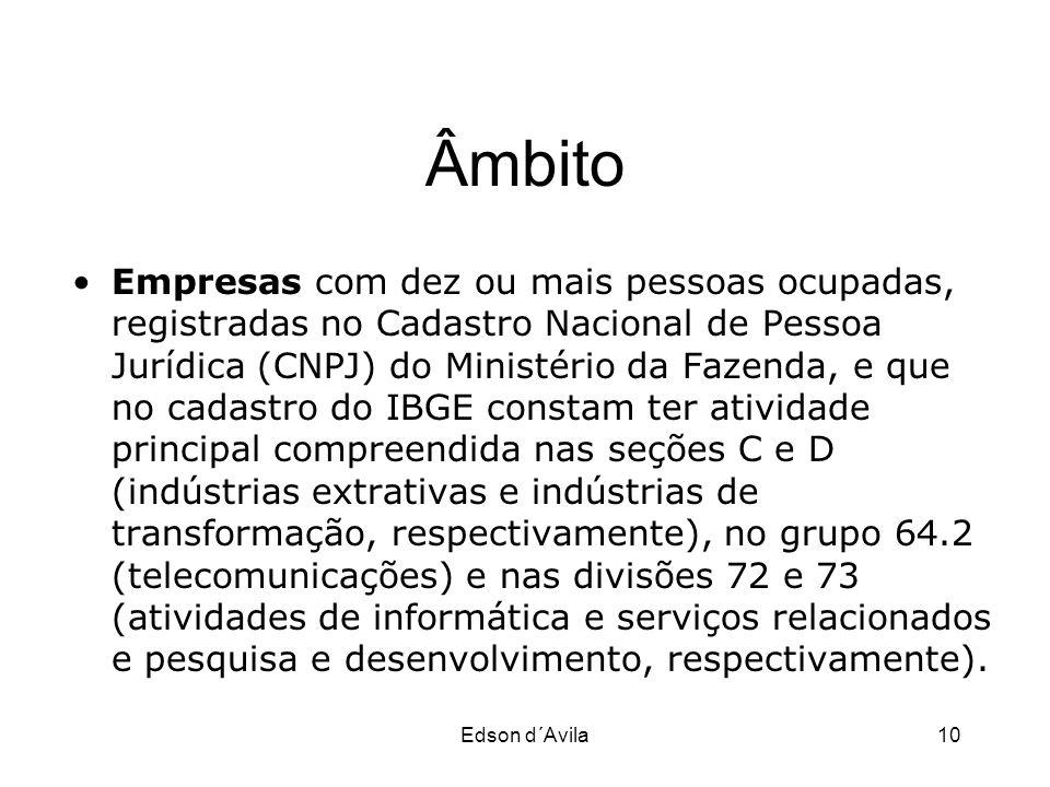Edson d´Avila10 Âmbito Empresas com dez ou mais pessoas ocupadas, registradas no Cadastro Nacional de Pessoa Jurídica (CNPJ) do Ministério da Fazenda,