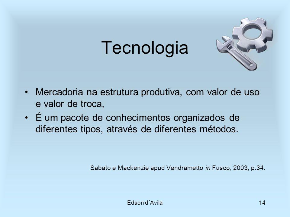 Edson d´Avila14 Tecnologia Mercadoria na estrutura produtiva, com valor de uso e valor de troca, É um pacote de conhecimentos organizados de diferente